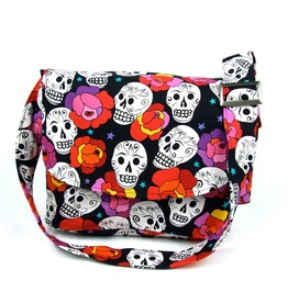 Flowers And Skulls Messenger Bag