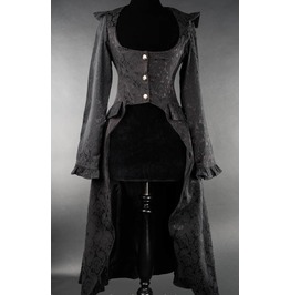 Ladies Victorian Vampire Brocade Flowy Skirted Black Goth Coat $6 Shipping