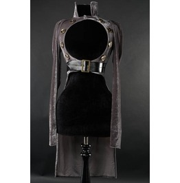 Ladies Grey Openbust Steampunk Victorian Buttoned Gothic Crop Tail Coat