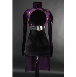 Ladies Purple Openbust Steampunk Button Gothic Crop Tail Coat Free To Ship
