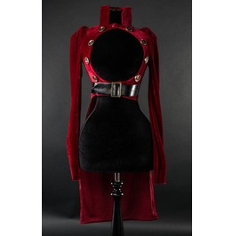 Ladies Red Openbust Steampunk Buttoned Gothic Crop Tail Coat Free Shipping