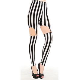 Black And White Stripes Garter Leggings Design 182