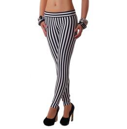 Black And White Vertical Stripes Leggings