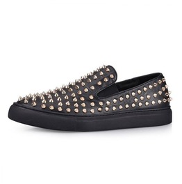 All Black Gold Spikes Sneaker
