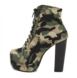 Camouflage High Heels Booties With Laces