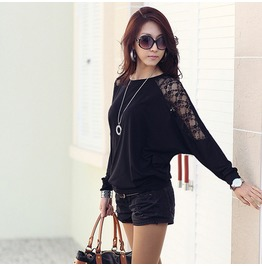 Plus Size Black/White Floral Lace Sheer Batwing Long Sleeve Women Tops