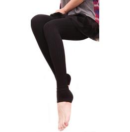 Black Ribbed Stirrup Leggings Design 298