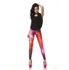 Burning Fire Red Print Leggings Pants