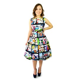Pleated Comic Print 50s Rockabilly Fangirl Knee Length Swing Dress $9 Ship