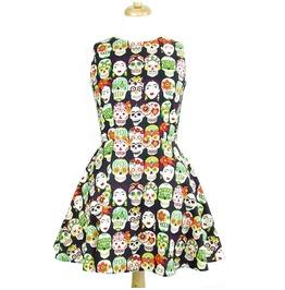Sugar Skull Candy Girl Multi Colored Mini Dress $9 To Ship Worldwide