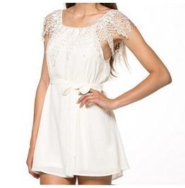 Strapless Shoulder Chiffon Slash Neck White Lace Dress Women's
