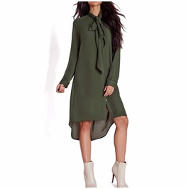 Women's Army Green Neck Tie Long Sleeve Loose Dress