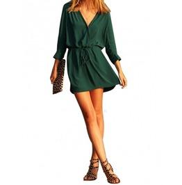 V Neck Long Sleeve Drawstring Pockets Loose Mini Chiffon Dress Women's