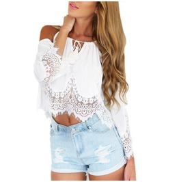 Off Shoulder Lace Chiffon Shirt Boho Tassels Crop Top Blouse Women's