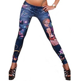 Blue Faux Denim Tattoo Artwork Leggings Design 378