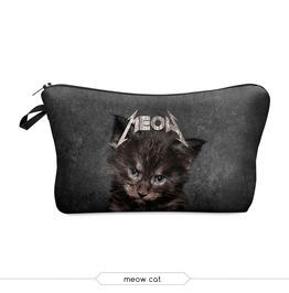Punk Cat Printed Makeup Bag