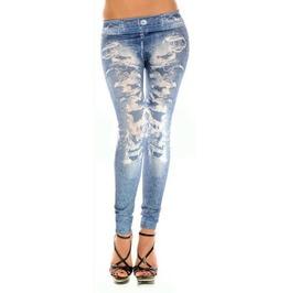 Blue Faux Distressed Denim Jeans Leggings Design 84