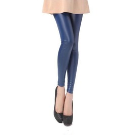 Blue Faux Leather Leggings