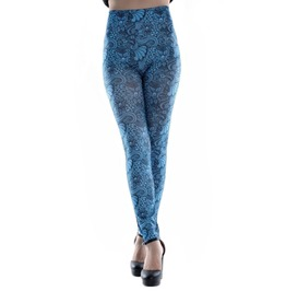 Blue Floral Design 186 Leggings