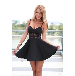 Straps Sleeveless Deep V Neck Lace Hollow Out Patchwork Short Dresses