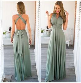 Deep V Elegant Long Dress Solid Color