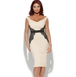 Low Neck Sleeveless Work Dress Beige With Lace