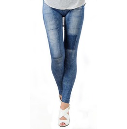 Blue Patched Denim Leggings