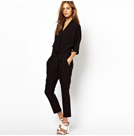 Jumpsuit Blue Black Capris Women's