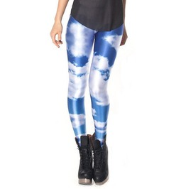 Blue With White Clouds Leggings Design 289