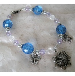 Blue Butterfly Charm Bracelet, Boho Bohemian Hippie Gypsy Boho Chic Pin Up