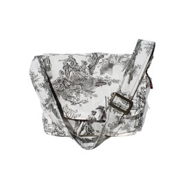 Victorian Skulls Toile Messenger Bag, Black And White