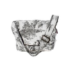 Victorian Skulls Toile Messenger Bag, Black And White