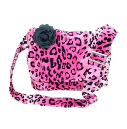 Pink Leopard Faux Fur Messenger Bag