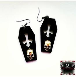 Gothic Black Acrylic Skull Coffin Earrings