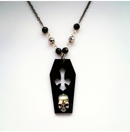 Crypt Skull Black Coffin Necklace