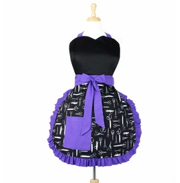 Black And Purple Scissors Apron