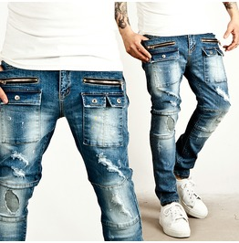 Distressed Zipper Accent Squared Cargo Pocket Washed Light Blue Biker Jeans
