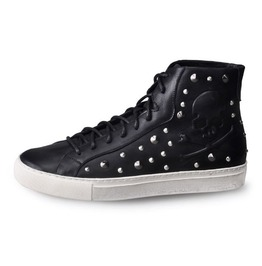Black High Top Sneaker With Embossed Skull And Rivets