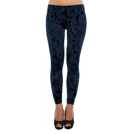 Dark Blue Embossed Velvet Leggings