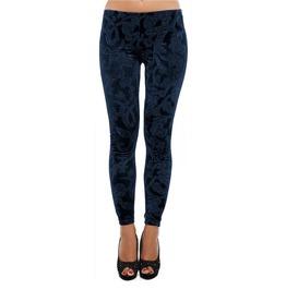 Dark Blue Embossed Velvet Leggings