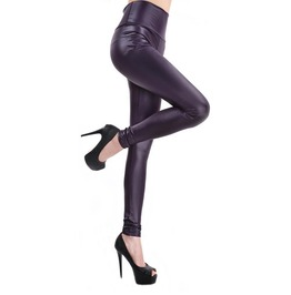 Dark Blue Faux Leather High Waist Leggings