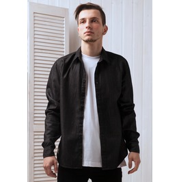 Black Denim Men's Shirt With Stitch On Japanese Style Label Organic Cotton