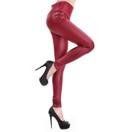 Dark Red Faux Leather High Waist Leggings Design 411