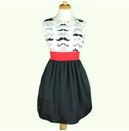 Moustache Print 50s Retro High Waisted Mini Dress $9 To Ship Worldwide