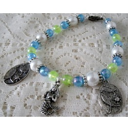 Mermaid Charm Bracelet, Boho Bohemian Hippie Gypsy Rockabilly Beach Ocean
