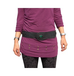 Womens Black Leather Belt Snake Design Black With Malachite Stone