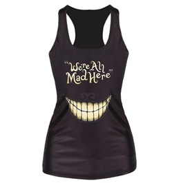 Black Cheshire Smile We Are All Mad Here Tank Top