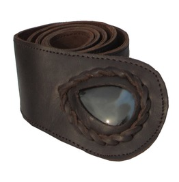 Womens Leather Belt Snake Design Brown With Teardrop Onyx Stone Inset