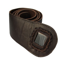 Womens Leather Belt Snake Design Brown With Black Onyx Stone Inset