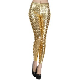Gold Shiny Cutout Leggings
